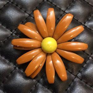 Vintage Brown Enamel Metal Figural Flower Brooch